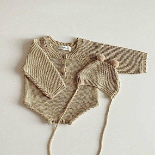 Reggie Knit Romper & Hat Set – Camel