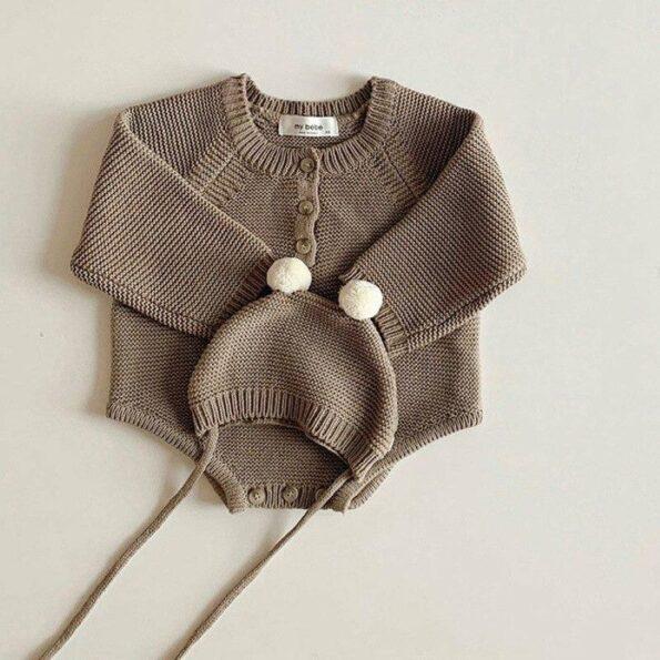 Reggie Knit Romper & Hat Set – Coffee