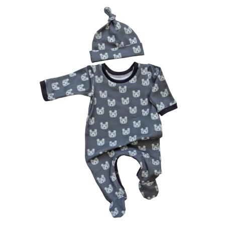 Footed baby sleep suit in grey bear head print