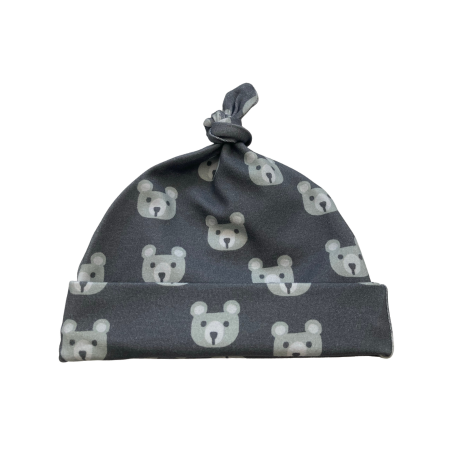 Baby knot hat with baby bear head print