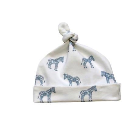 Baby knot hat in blue zebra print