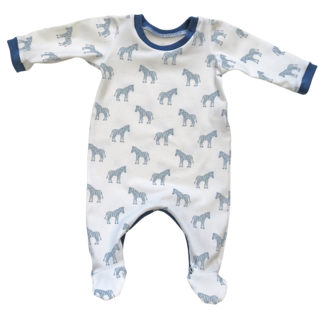 Baby footed sleep suit with blue and white zebra print