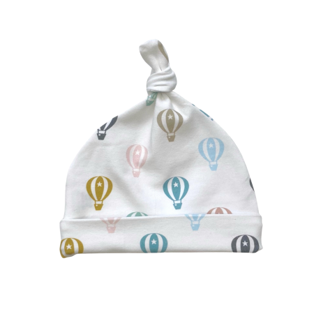 Baby knot hat in pastel hot air balloon print
