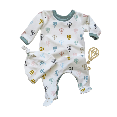 Baby sleep suit with pastel hot air balloon print