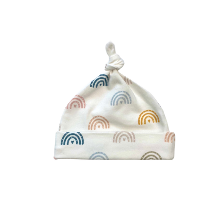 Jersey baby knot hat with pastel rainbow print