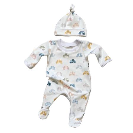 Baby sleep suit with pastel rainbow print